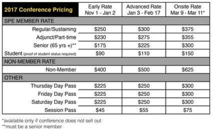 2017 Conference Pricing